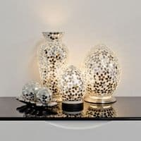 Mini Mosaic Glass Egg Lamp - Mirrored Flower